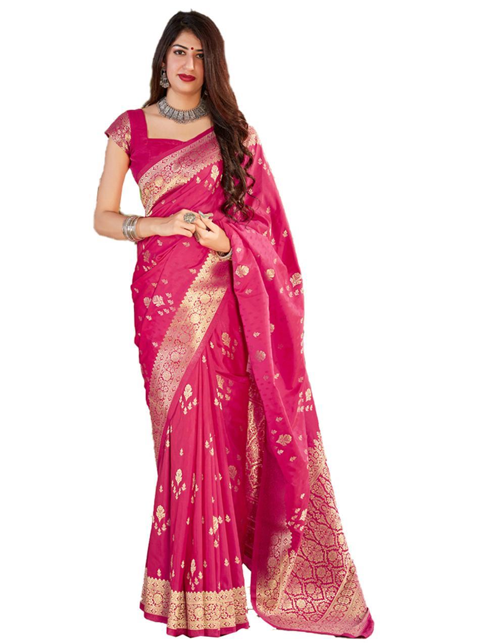 Rani pink Silk Saree With Blouse SD24130