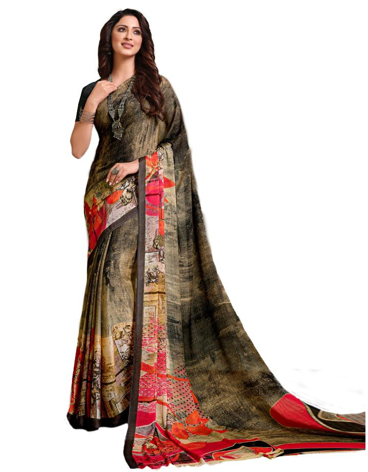 Multi Georgette Saree With Blouse IW24642