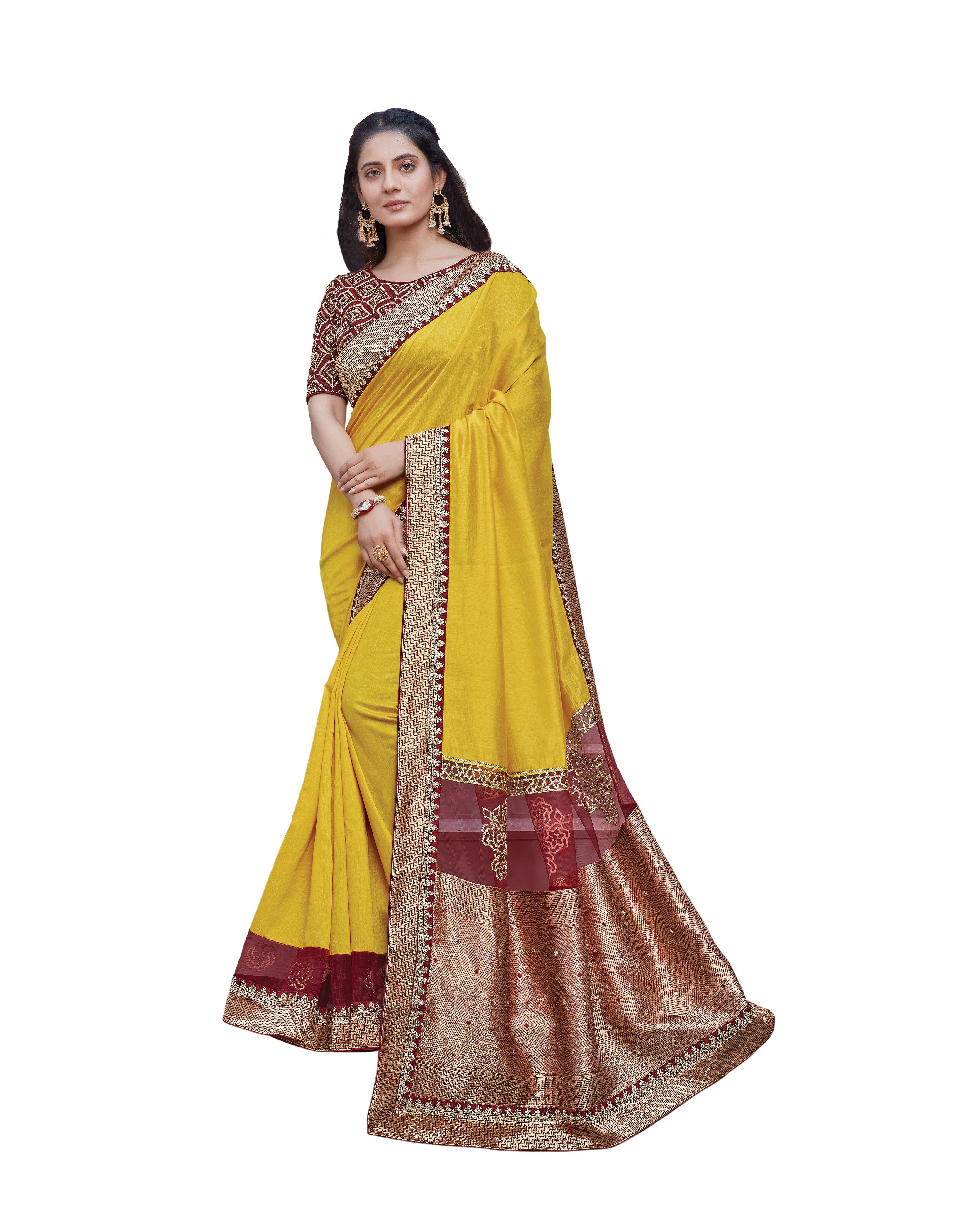 Yellow Silk Georgette Saree With Blouse MH25040