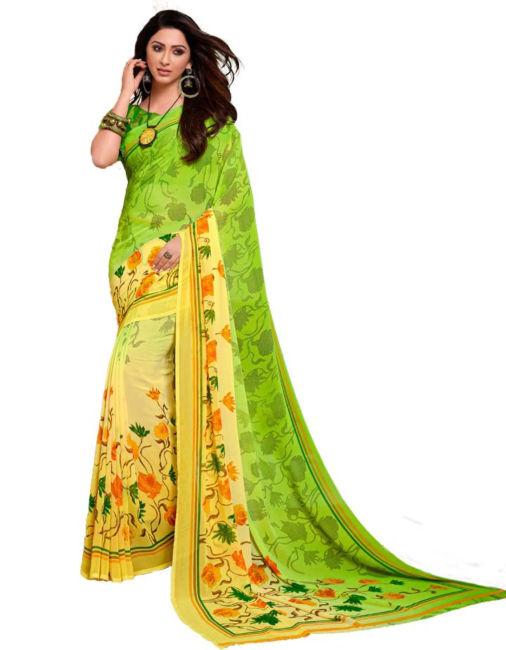 Green Georgette Saree With Blouse IW24641